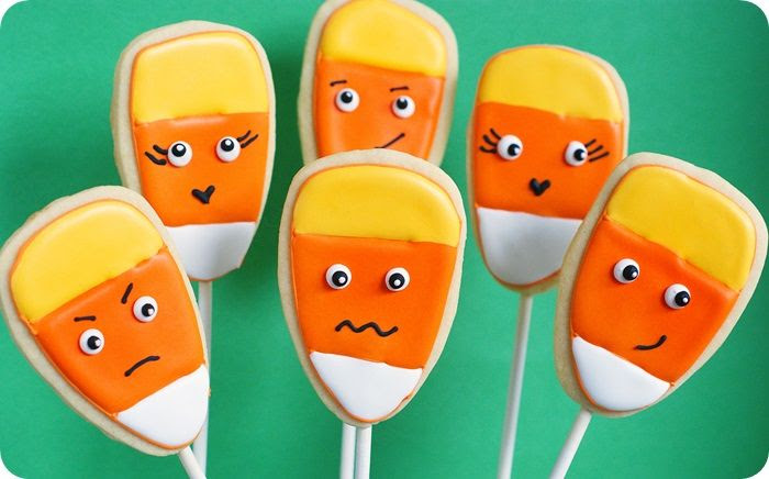 candy corn cookie pops ::: from @bakeat350