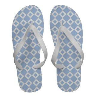 Light Blue and White Diamond Pattern Sandals