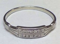 LADIES ANTIQUE 18K WHITE GOLD DIAMOND WEDDING RING WOMENS BAND VICTORIAN   eBay