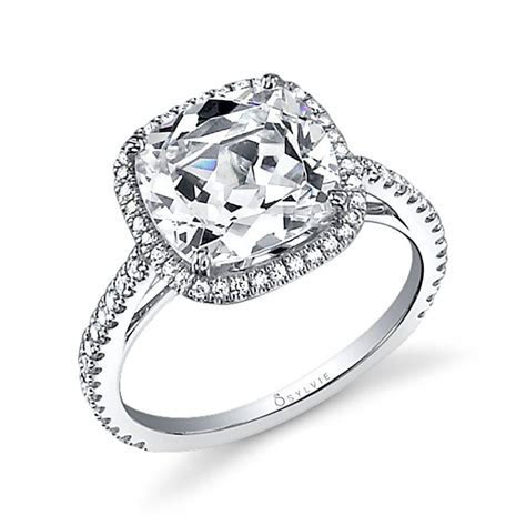 Angelika   Cushion Cut Engagement Ring with Halo   SY395