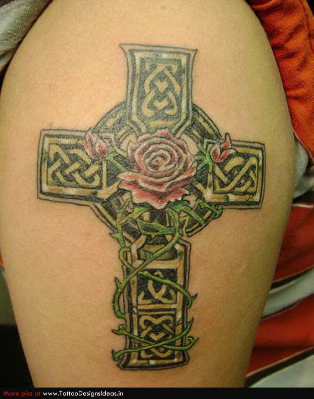 Celtic Cross And Red Rose Tattoo On Half Sleeve