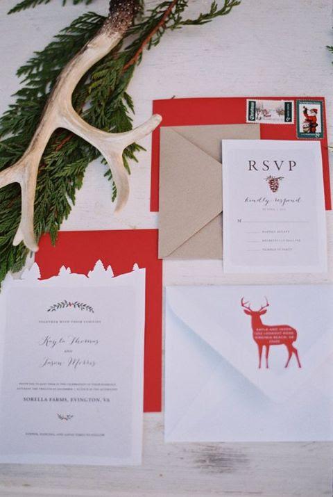 Weihnachten-inspirierten Hochzeit Briefpapier mit einem Reh, Kraftpapier und roten Akzenten