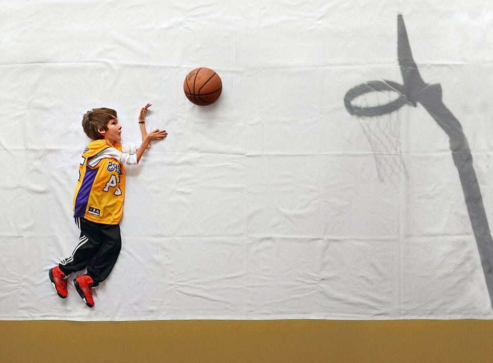 Shooting hoops: The clever images allow Luka to explore a world where he can try sports like basketball