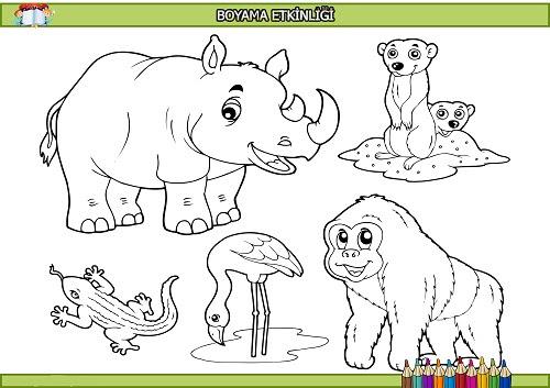 Karışık Hayvanlar Boyama Etkinliği Meb Ders