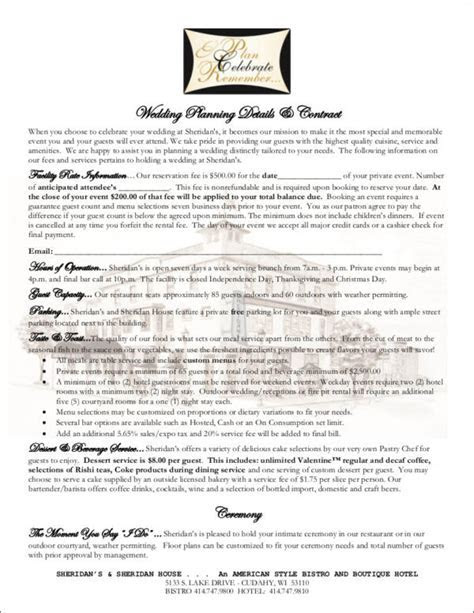 14  Wedding Contract Samples   Word, PDF, Google Docs
