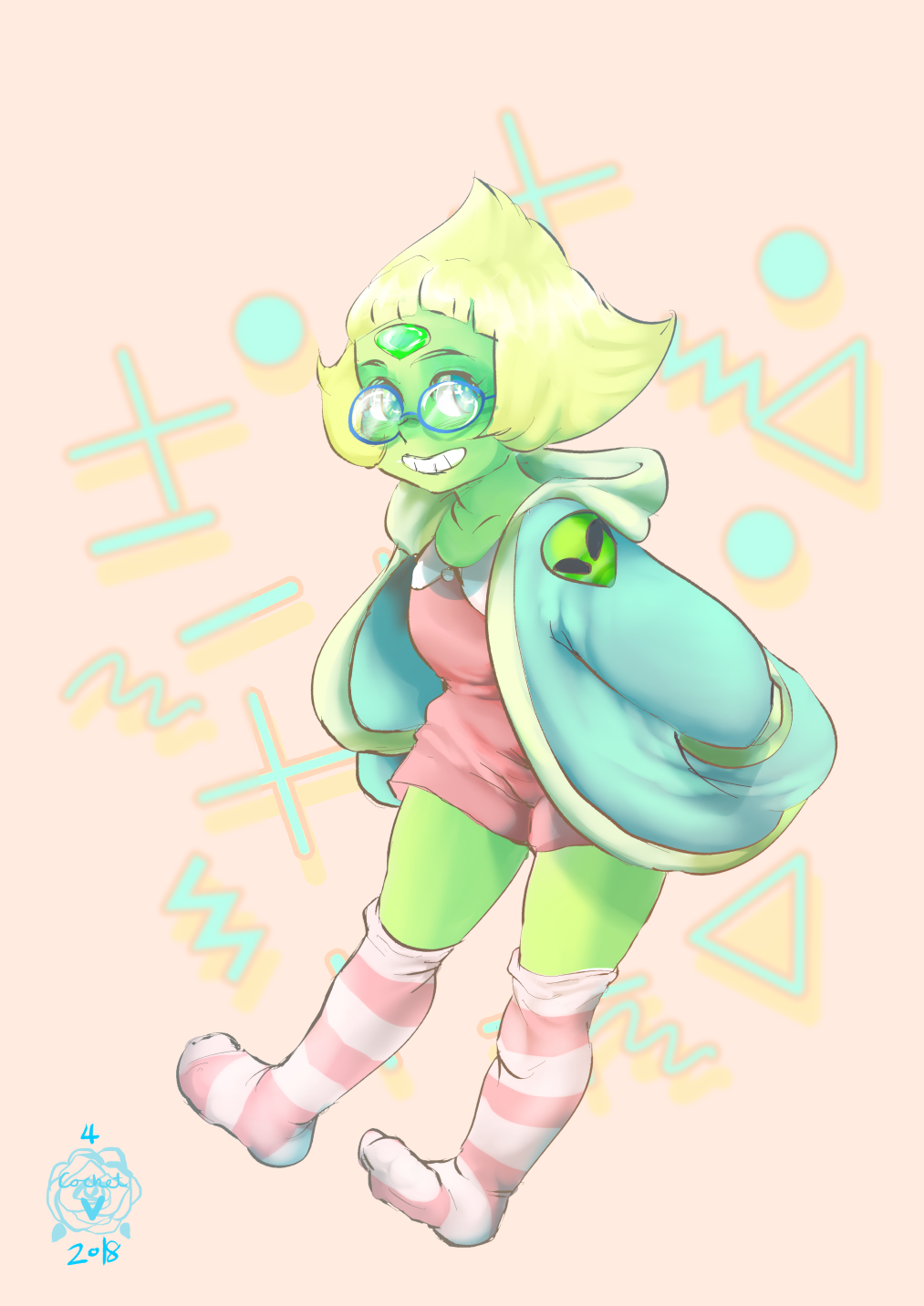 probably offmodel cos i did it without ref lol i just wanted to doodle peridot, still dont feel quite at home with clip studio paint yet but im gettin there!