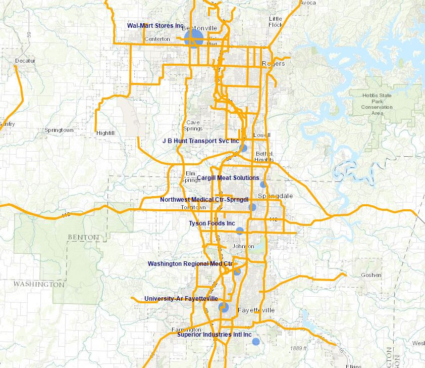 Northwest Arkansas Map With Cities | Time Zones Map