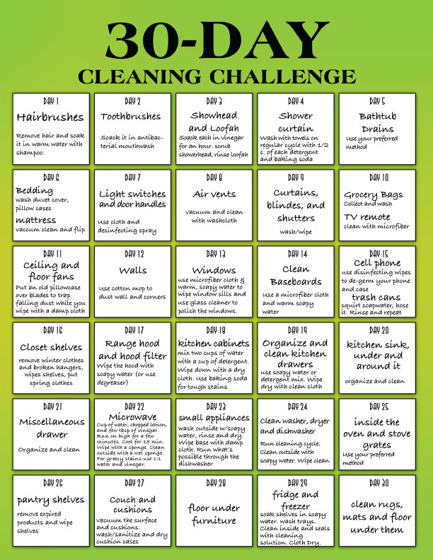30 day clean house challenge