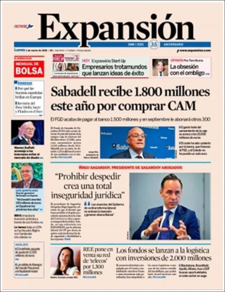 Portada de Expansión (España)