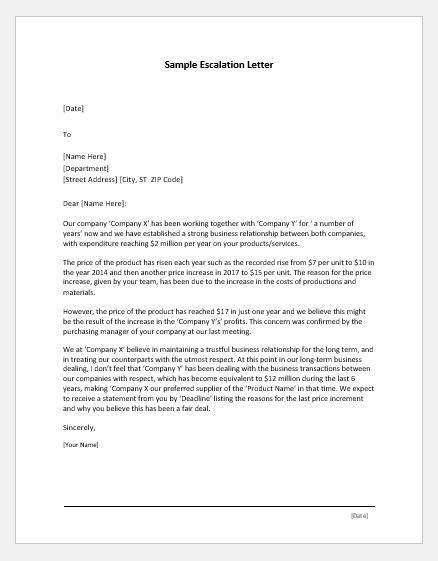 escalation letter samples  ms word word excel templates