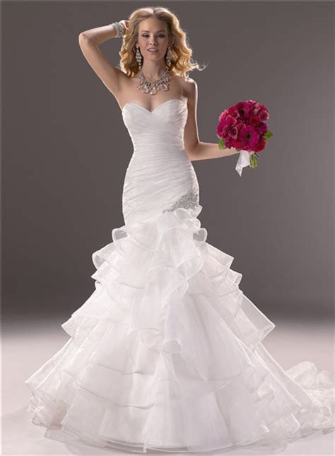 Mermaid Sweetheart Fit And Flare Layered Organza Wedding