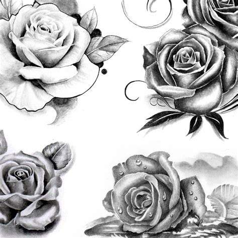 roses tattoo designs black grey style