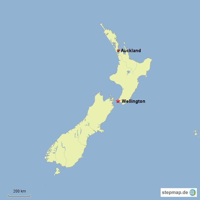 Neuseeland Karte Wellington | Kleve Landkarte