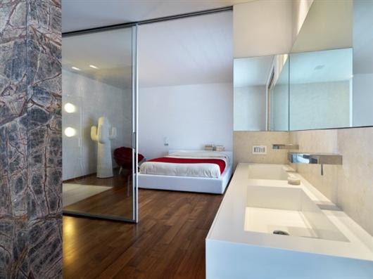 duilio damilano horizontal space modern architecture  architecture , interior design , modern interior design , white bedroom with bathroom
