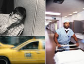 A tired man, a man working in a hospital, and a taxi driver.