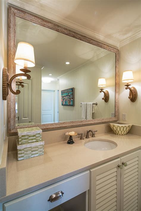 bathroom framed mirror master bathrooms  framed