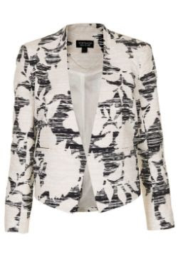 Topshop Flower Print Cropped Jacket