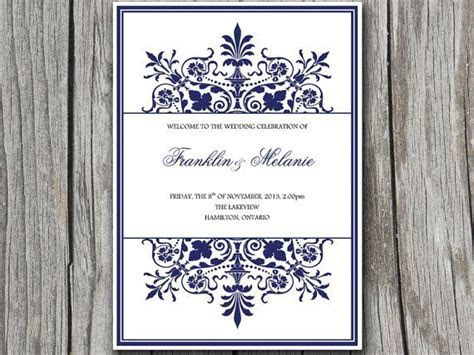 Snowflake DIY Wedding Program Template   Ornate Border