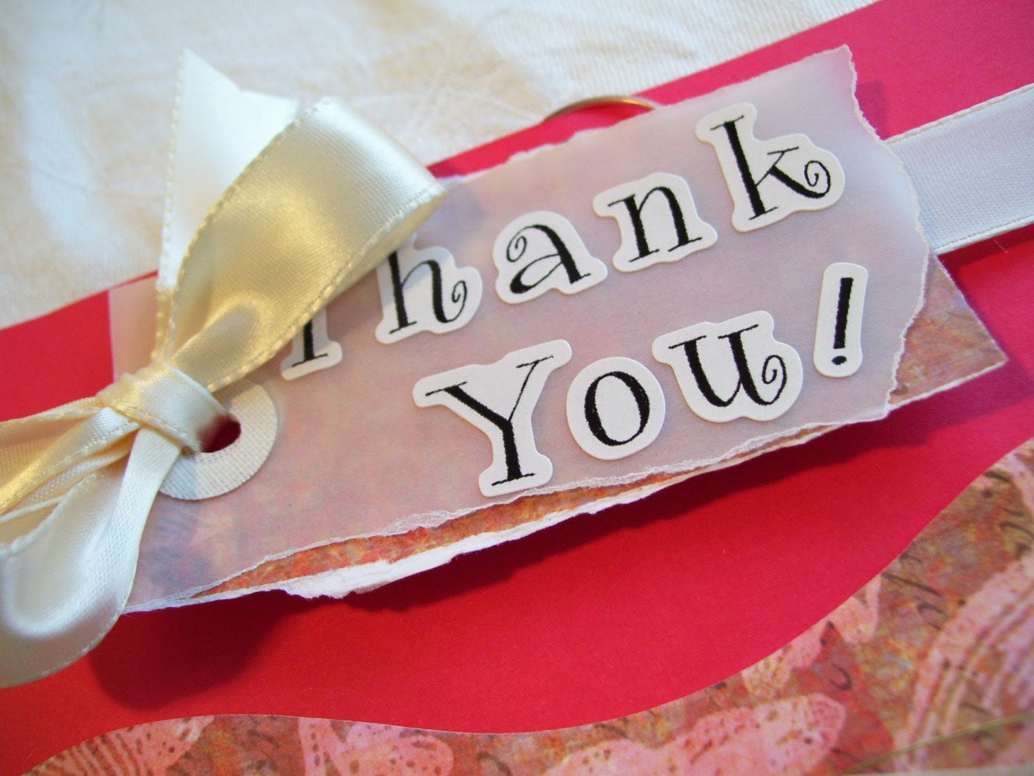 Handmade Reusable Thankyou Card of Red Cardstock