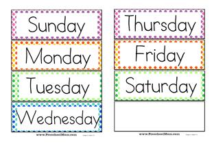 Preschool Calendar Printables -