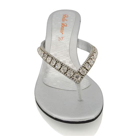 womens wedge heel sandals sparkly diamante ladies flip