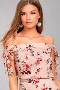 Lost + Wander Serra Blush Pink Floral Print Crop Top