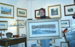 """In the gallery holding """"Salmon River"""""""