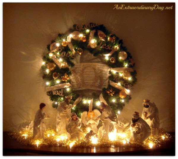 AnExtraordinaryDay.net | Christmas JOY Wreath | Nativity Vignette | Christmas decor ideas | Decked for Christmas | Joy on the Sideboard