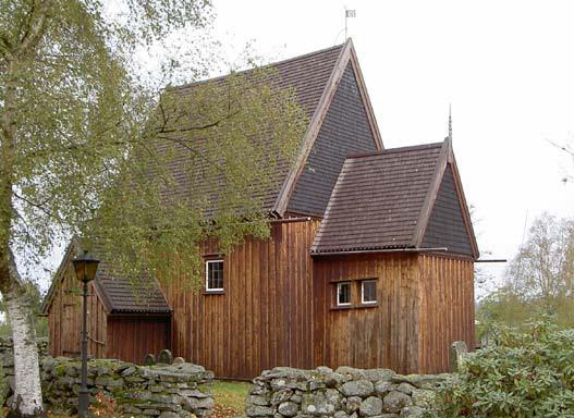 unique survivante des stavkirken ou eglises en bois debout de Suede, celle d'Hedared