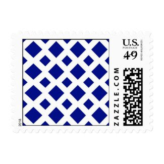 Navy Diamonds on White Postage Stamp