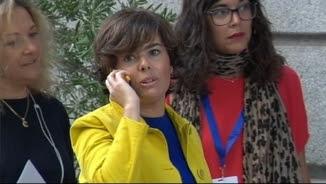 Soraya Sáenz de Santamaría arriba al Congrés dels Diputats
