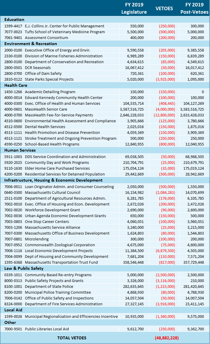 Summary of the Governor's vetoes to the FY 2019 budget