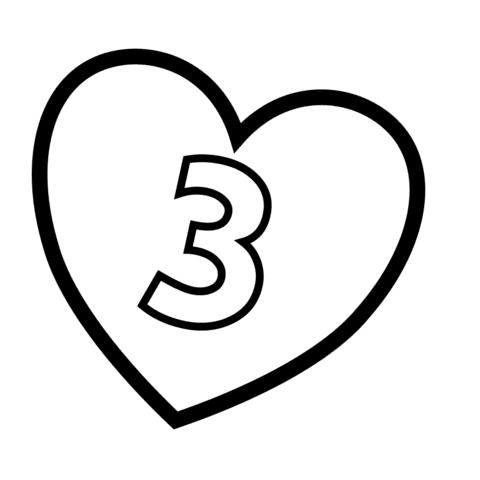 Disegno Di Numero 3 Dentro A Un Cuore Da Colorare Disegni Da