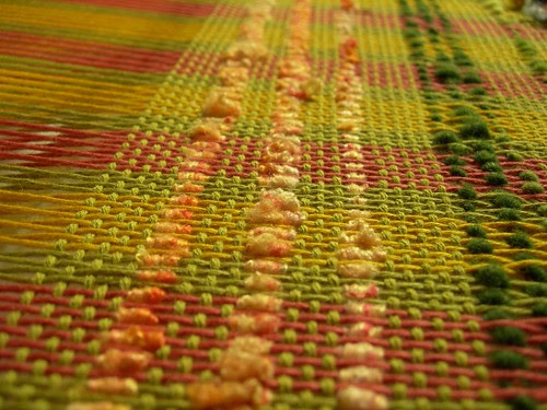 Three rows of silk noil added to the sampler