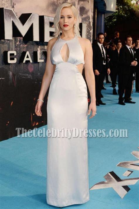 Jennifer Lawrence Silver Multi cutout Column Evening Dress