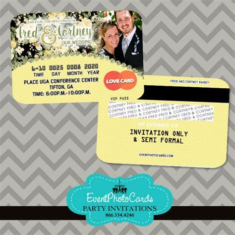 Yellow and Black Wedding Floral Invitations Credit Card