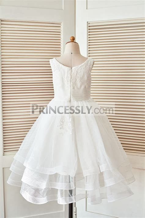 Ivory Lace Tulle Layers Flower Girl Dress with Horse Hair