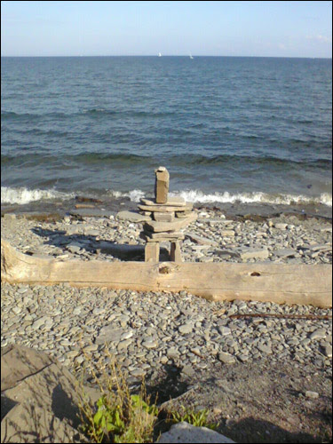 inukshuk, on the beach, Lake Ontario, September 24