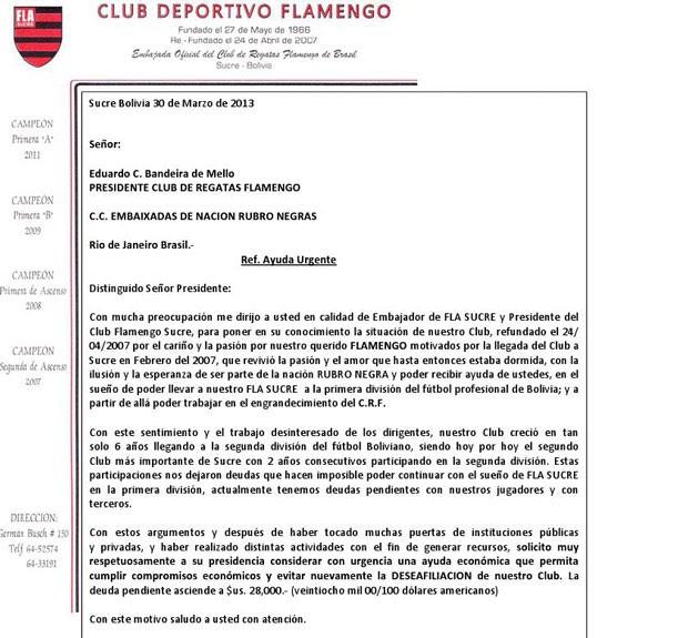 documento flamengo de sucre (Foto: Reprodução)