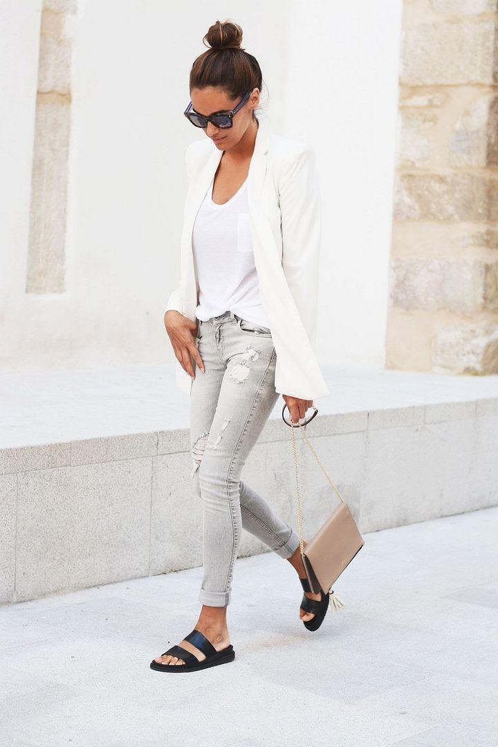 Le Fashion Blog -- Blogger Style -- Casual Chic Neutrals: Top Knot, Fendi Sunglasses, White Mango Blazer, Nude Clutch, Grey Jeans & Black Slide Sandals -- Via Maria Of Stella Wants To Die photo Le-Fashion-Blog-Blogger-Style-Casual-Chic-Neutrals-White-Blazer-Grey-Distressed-Skinny-Jeans-Black-Slide-Sandals-Via-Maria-Of-Stella-Wan.jpg