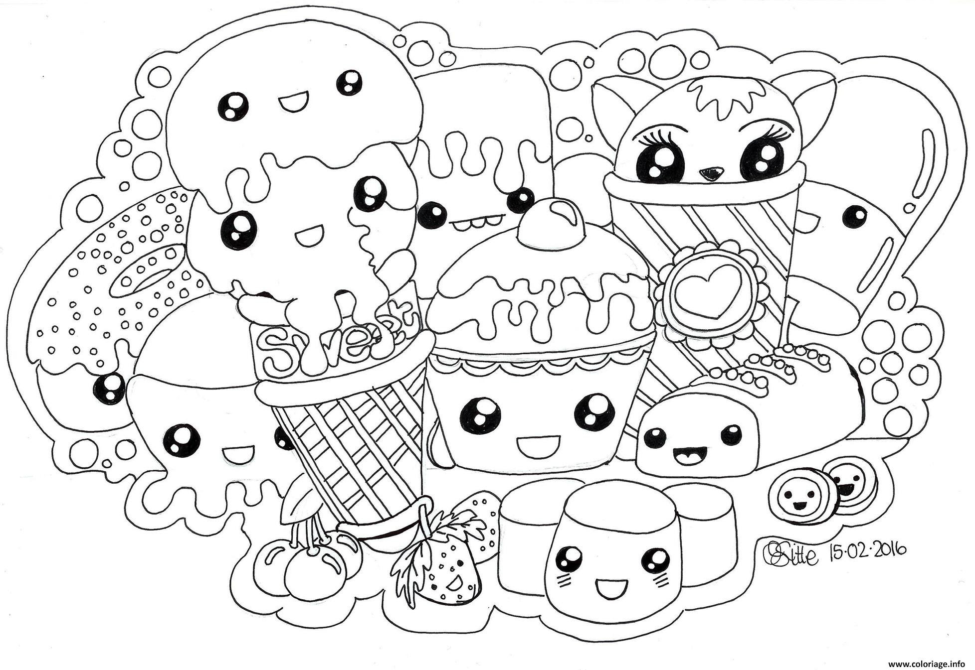 Coloriage Kawaii Sweets Colour Manga Cute Dessin Imprimer