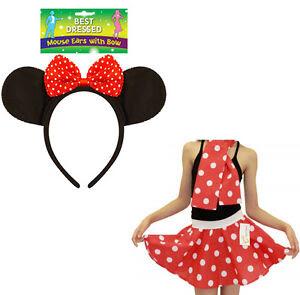 Personaje De Dibujos Animados Orejas De Minnie Mouse Con Moño Rojo