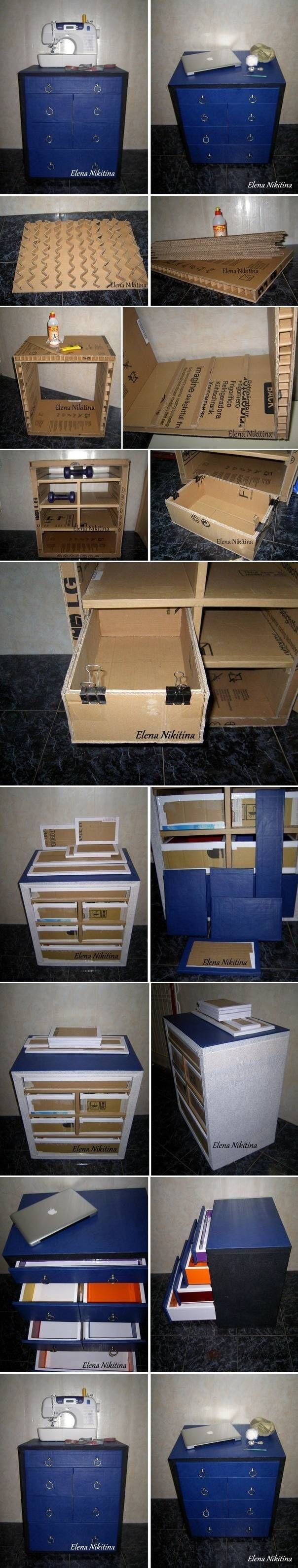 DIY Cardboard Chest with Drawers