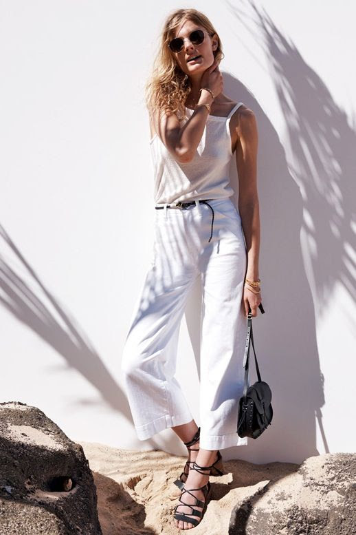 Le Fashion Blog All White Summer Look Aviator Sunglasses Tank Top Thin Black Belt Leather Bag Wide Leg Crop Jeans Lace Up Sandals Via Madewell