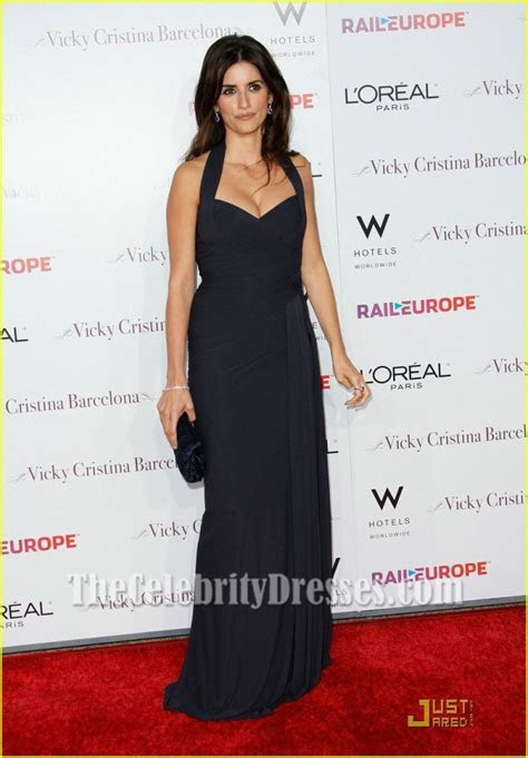 Penelope Cruz Dark Navy Evening Dress Vicky Cristina