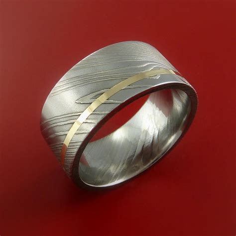 Damascus Steel 14K Yellow Gold Wide Ring Wedding Band