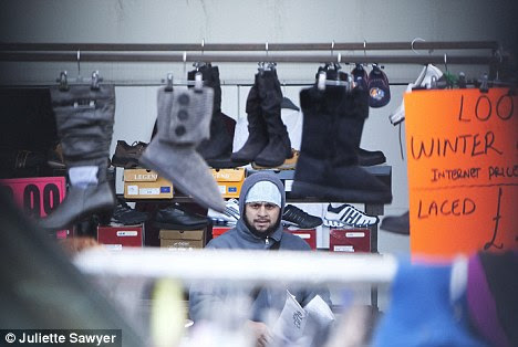Abu Yahya selling clothes at the New Covent Garden Market in Vauxhall earlier this month