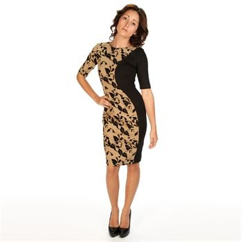 French Connection Women's Contemporary Flocked Floral Sheath Dress | from Von Maur #VonMaur #SpecialOccasion #Black #Camel
