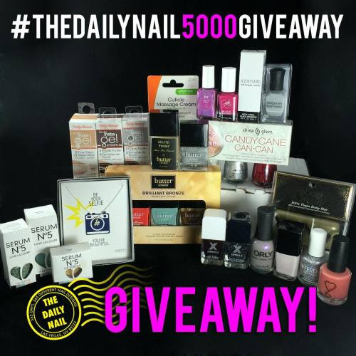 ⚡️🎉🎉5,000 FOLLOWER INSTAGRAM ONLY GIVEAWAY!!🎉🎉⚡️   As a thank you for all of you amazingness, follows, ❤️s, and comments, I present to you a giveaway worth over $300!!  The prize includes:  Dogeared Hashtag/Selfie necklace Serum No. 5 .3 oz Beach Cruisin' Serum No. 5 .5 oz Friendly Tiffs Serum No. 5 Citrus Mint Lip Serum Sally Hansen Insta Gel Strips in Faux Real Sally Hansen Insta Gel Strips in Commander in Chic Sally Hansen Insta Gel Strips in Perfect Poison Sally Hansen Cuticle Massage Cream butter LONDON Brilliant Bronze Trio (Torch, Poole & Marbs) butter LONDON Dodgy Barnett butter LONDON Matte Finish China Glaze Candy Cane Can-Can trio Formula X Obsessed Formula X Loose Cannon ORLY Sweet Dreams LVX Cashmere differentDIMENSION Big Bang 6 Harts Nice Peaches! (donated by maker!) Cupcake Polish Chicago Julie G Damsel Azature Black Diamond Deborah Lippmann Misty Morning V Luxe lashes Handmade by MAS cosmetic bag (donated by maker, picture in previous post)  The rules:  1. No giveaway accounts 2. Must be following @thedailynail 3. US residents only (sorry international readers! 😔) 4. If you repost for more entries, your account cannot be private. 5. Winner will be drawn at random from all entries.  How to enter:  1 entry for liking this post 3 additional entries for tagging three friends that might like @thedailynail in the comments 5 additional entries if you repost this image and hashtag #TheDailyNail5000Giveaway (please don't @ me or tag me in your repost! :))  Good luck, and may the odds be ever in your favor!  #giveaway #thedailynail #5000followers #celebrategoodtimescomeon #thankful #thankyou #grateful #iloveyouman #thedailynail  (at TheDailyNailBlog.com)