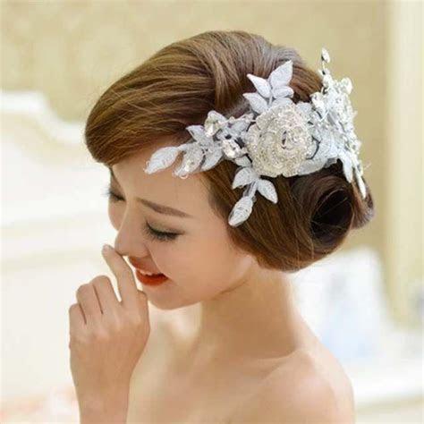 Bridal Rhinestone Adjustable Forehead Band Rose Flower